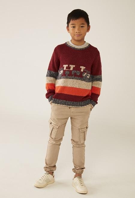 Strick pullover gestreift für junge_1