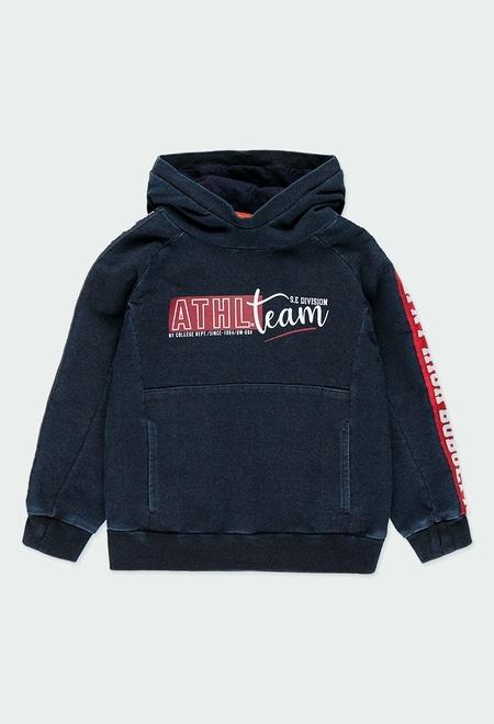 "Fleece sweatshirt denim ""new york"" for boy_1"