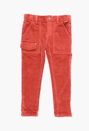 Corduroy stretch trousers for boy_1