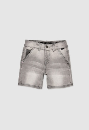 Stretch denim bermuda shorts for boy_1