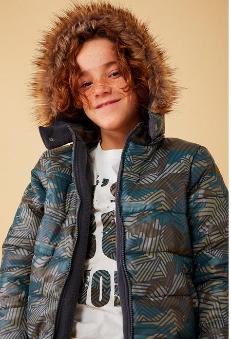 Technical fabric parka camo for boy_1