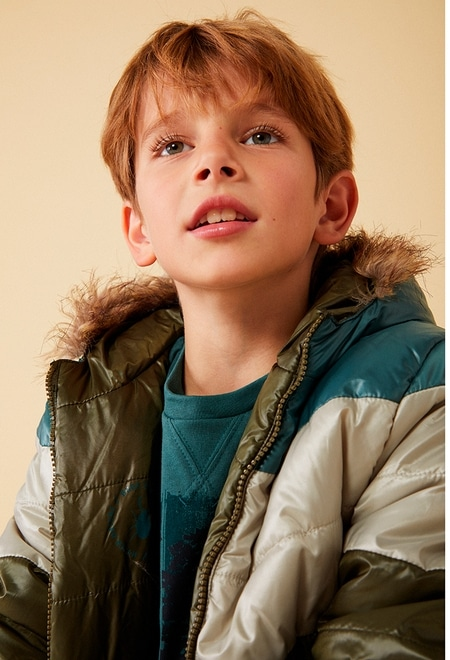 Reversible parka with stripes for boy_1