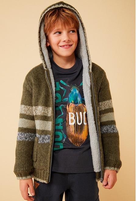 Casaco tricot com capuz para menino_1