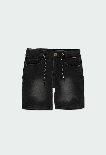 Fleece bermuda shorts denim for boy_1