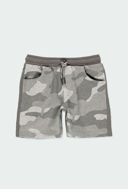 Fleece bermuda shorts camo for boy_1