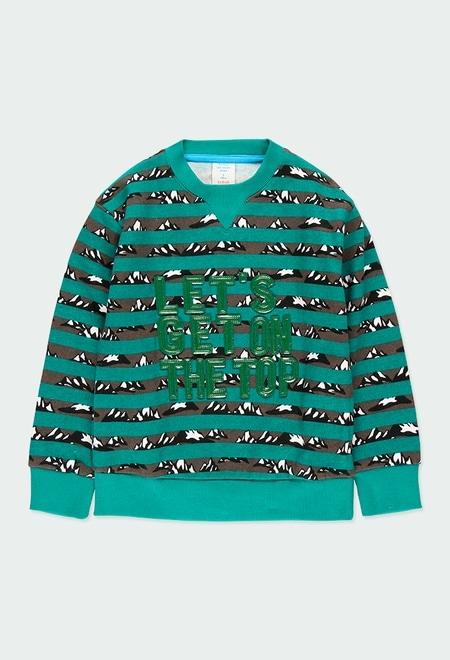 Sweatshirt felpa às riscas para menino_1