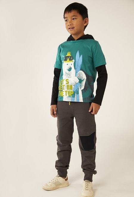 Camiseta malha com capuz para menino_1