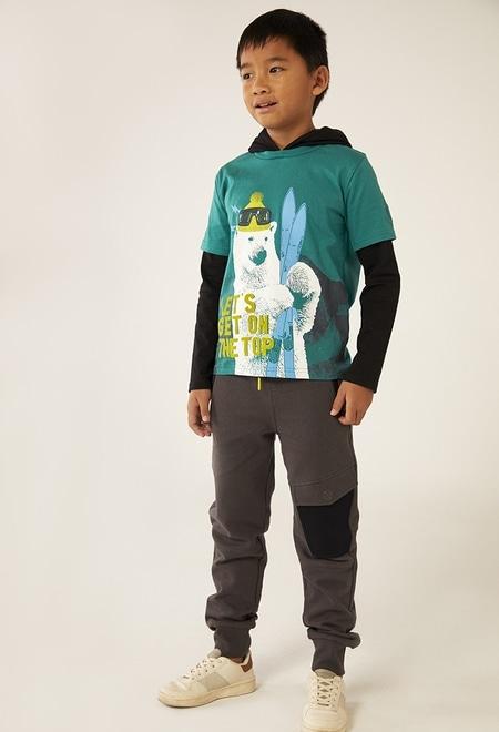 T-Shirt tricot à capuche pour garçon_1
