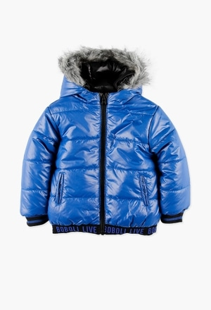 Reversible technical fabric parka for boy_1