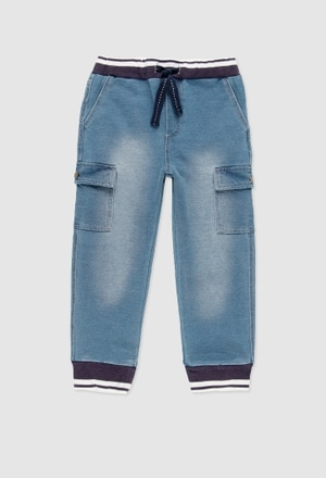 Fleece denim trousers for boy_1