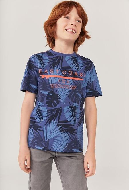 """Camiseta malha """"folhas"""" para menino_1"""