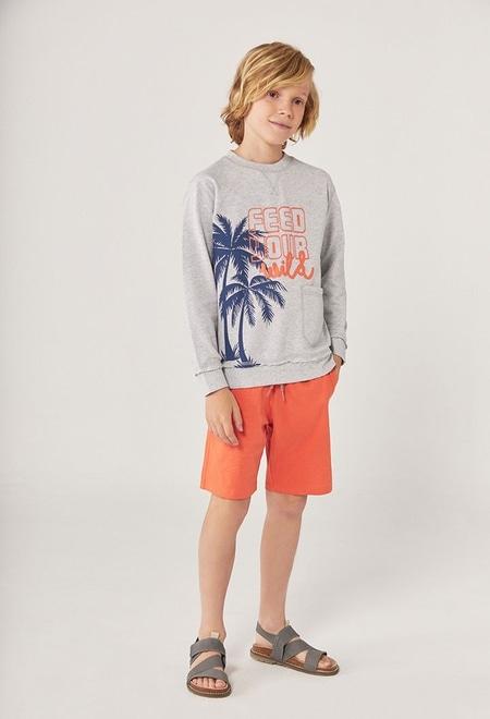 "Fleece sweatshirt ""palm trees"" for boy_1"