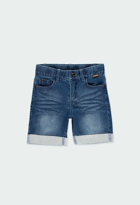 Knit denim bermuda shorts for boy_1