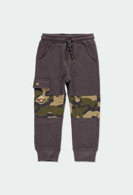 Pantalón felpa con bandas de niño_1