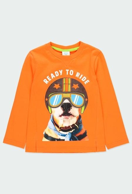 "Camiseta malha ""cachorro"" para menino_1"