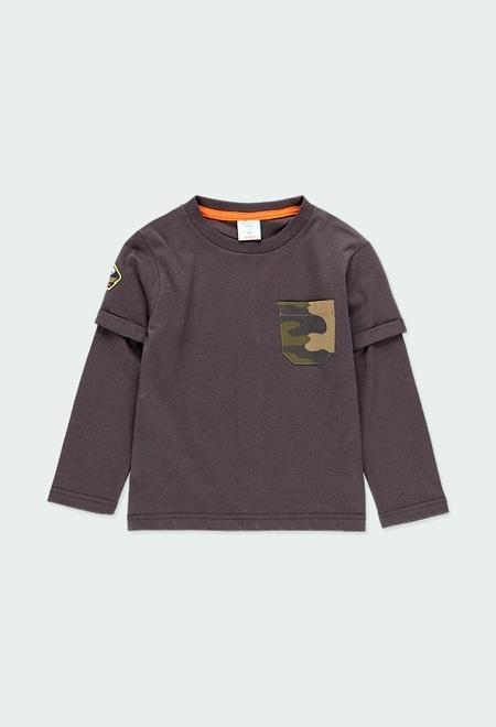 Camiseta punto doble manga de niño_1