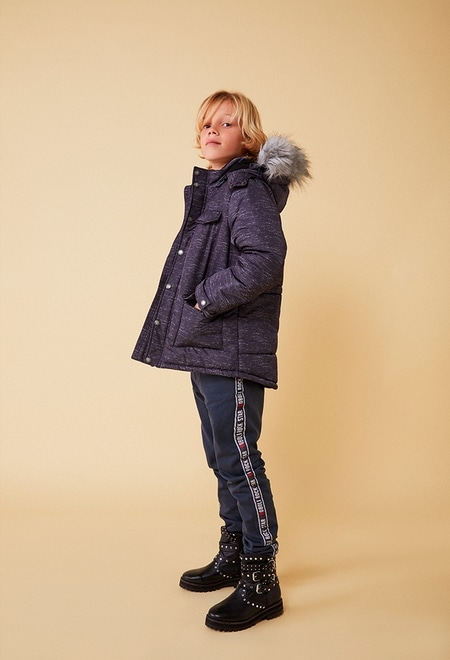 Technical fabric parka with elbow patches for boy_1