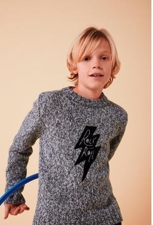 "Pullover tricot ""rock"" para menino_1"