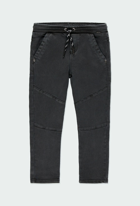 Stretch twill trousers knit for boy_1