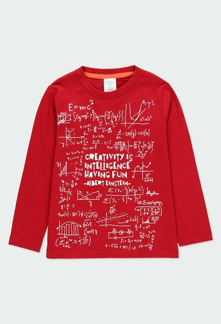 Camiseta punto básica estampada Einstein de niño_1