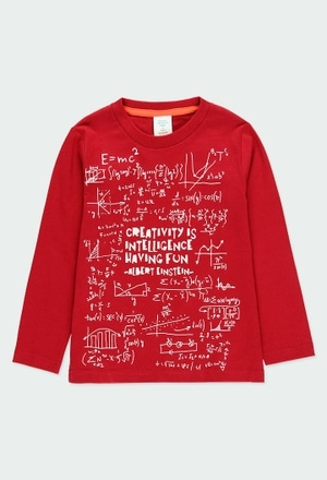 Maglietta jersey basic stampato Einstein per ragazzo_1