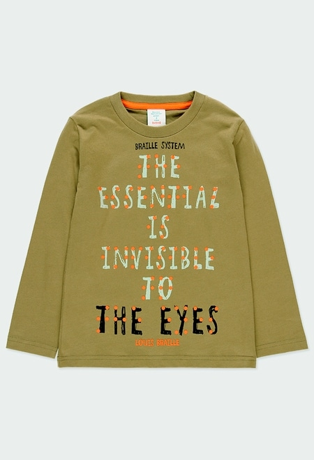 Camiseta punto básica estampada Braille de niño_1
