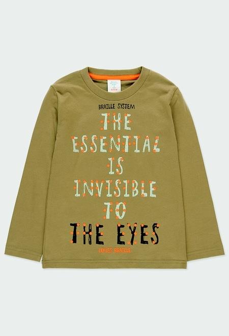 T-Shirt gestrickt basic gedruckt Braille für junge_1