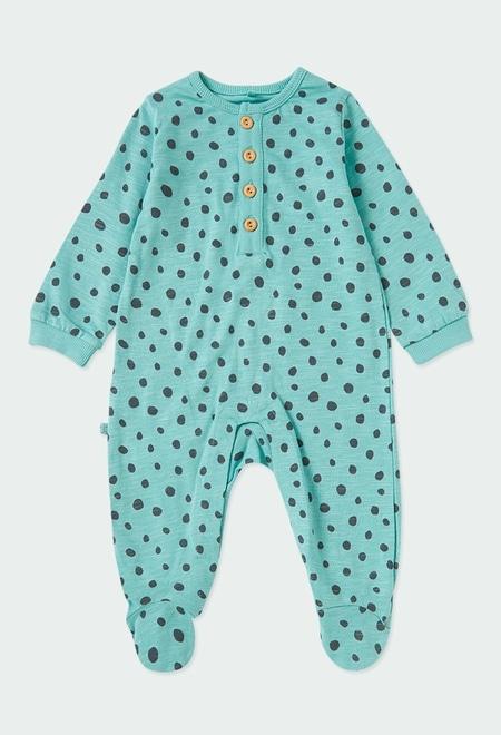 Grenouillère en tricot a petits pois pour bébé ORGANIC_1
