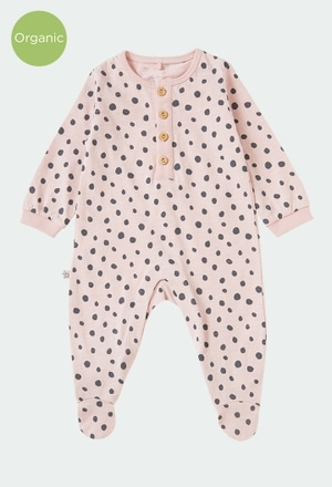 Knit play suit polka dot for baby ORGANIC_1