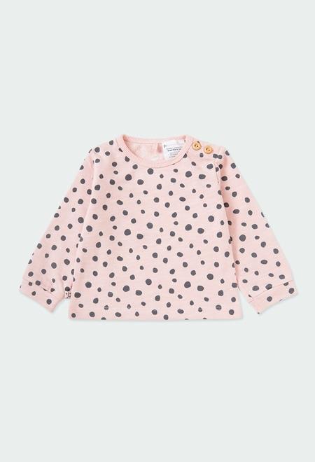 Fleece sweatshirt polka dot for baby ORGANIC_1