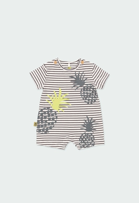 Grenouillère en tricot ananas pour bébé ORGANIC_1