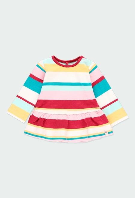 Vestido felpa às riscas do bébé - orgânico_1