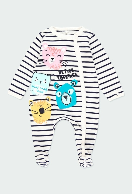 Knit play suit striped for baby - organic_1