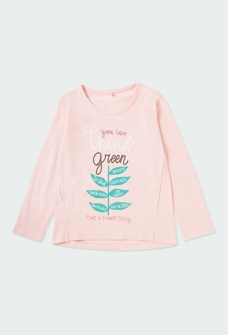 Knit t-Shirt flame for girl ORGANIC_1