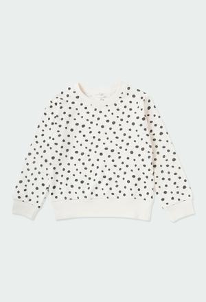 Fleece sweatshirt polka dot for girl ORGANIC_1