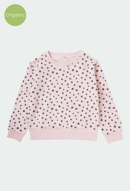 Fleece sweatshirt polka dot for girl ORGANIC_1
