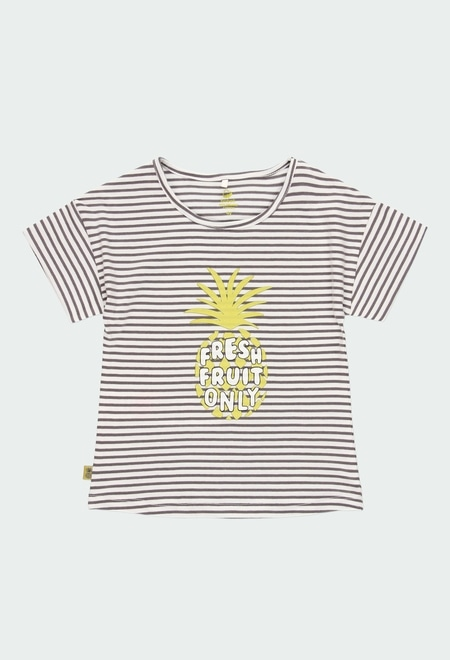 T-Shirt tricot à rayures pour fille ORGANIC_1