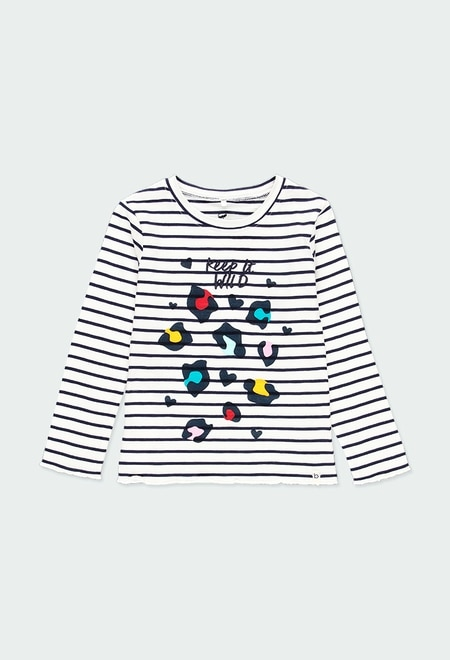 T-Shirt tricot à rayures pour fille - organique_1