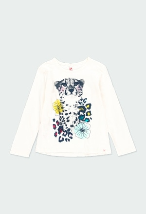 Knit t-Shirt flame for girl - organic_1