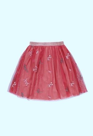 Falda de tul con toques florales_1