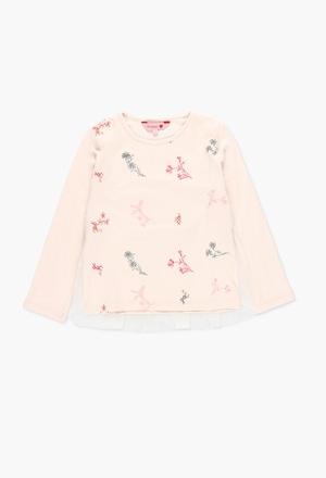 Camiseta de punto y tul estilo floral_1