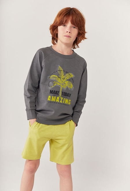 "Fleece sweatshirt ""palm trees"" for boy ORGANIC_1"