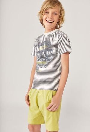 T-Shirt gestrickt gestreift für junge ORGANIC_1