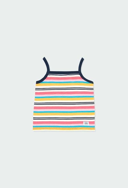 Camiseta punto canalé listado de niña_1
