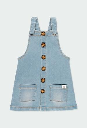 Stretch denim pinafore dress for girl_1
