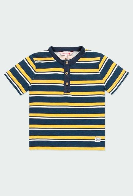 T-Shirt tricot avec rabat a boutons pour garçon_1