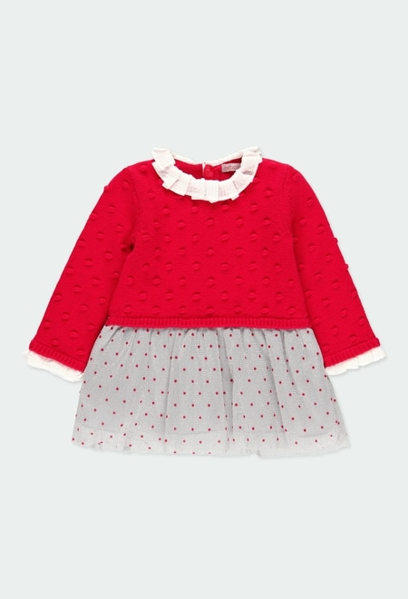Vestido tricotosa combinado de bebé niña_1