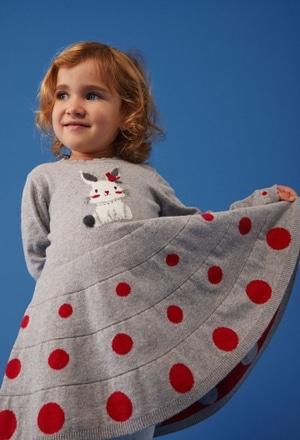 Vestido tricot bolinhas para o bebé menina_1