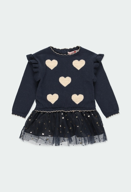 Knitwear dress hearts for baby girl_1