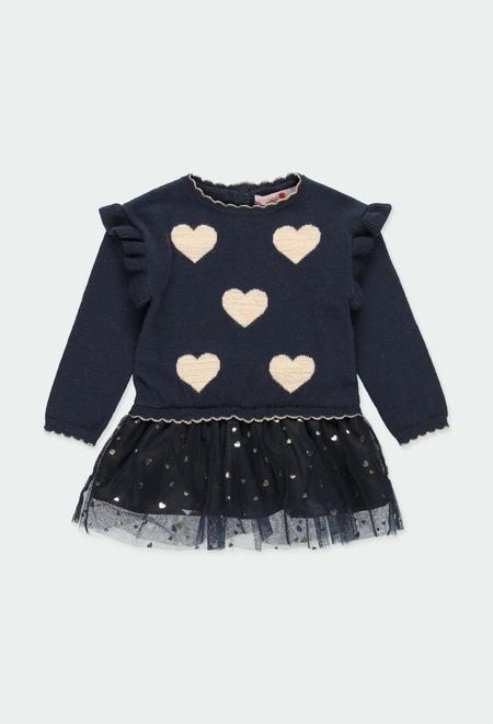 Vestido tricotosa corazones de bebé niña_1